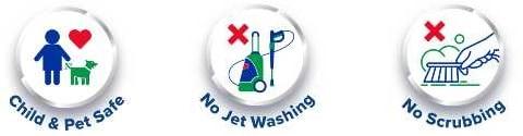 No scrubbing, no jet washing, children and pet safe
