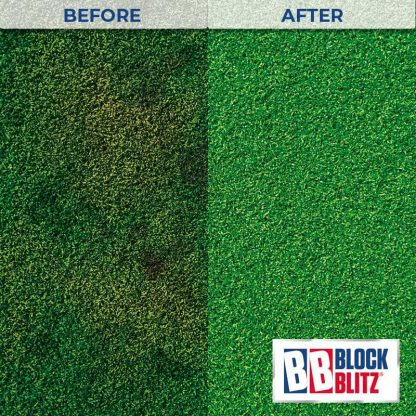 Artificial grass after 3 treatments of Block Blitz Artificial Grass Cleaner