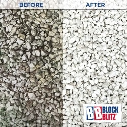 Gravel drive after 3 applications of Block Blitz Gravel & Aggregate Cleaner