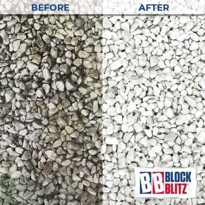 Gravel after 3 treatments of Block Blitz Gravel & Aggregate Cleaner